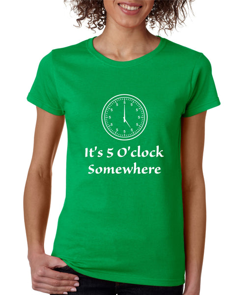 Women's T Shirt It's 5 O'clock Somewhere Drinking Beer Party Tee - ALLNTRENDSHOP - 3