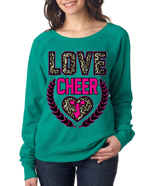Love Cheer Leopard Womens long sleeve Pullover - ALLNTRENDSHOP - 3
