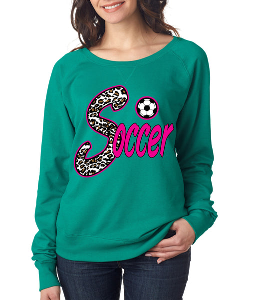 Soccer White Leopard women's long sleeve pullover - ALLNTRENDSHOP - 2