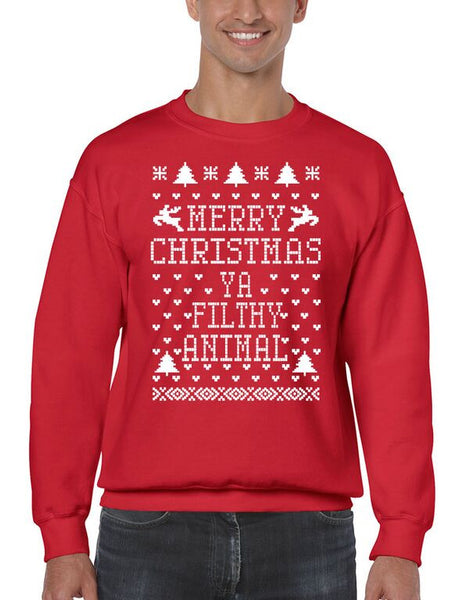 Merry Christmas Ya Filthy Animal Men's Crewneck Sweatshirt Ugly Christmas Sweaters - ALLNTRENDSHOP - 1