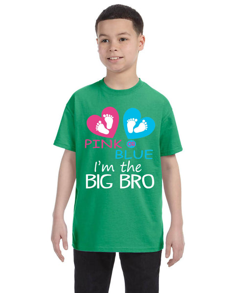Kids Youth T Shirt Pink Or Blue Im The Big Bro New Brother Reveal Tee