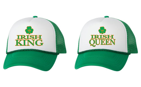 Irish king queen st patricks day dual color trucker hat - ALLNTRENDSHOP