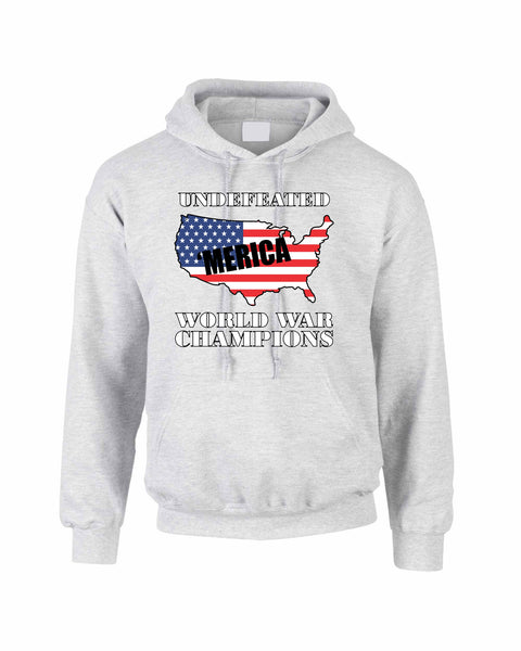 Adult Hoodie Undefeated World War Champions 4th Of July USA