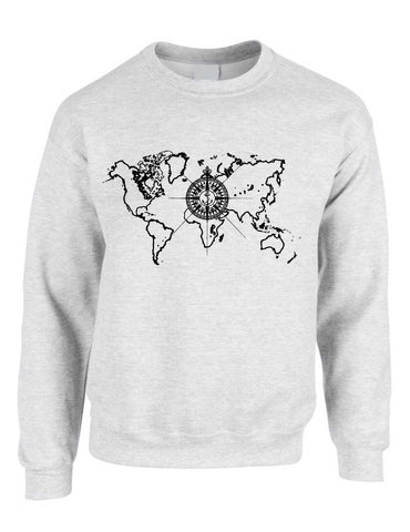 Adult Crewneck World Map Compass Cool Stuff Trendy Top - ALLNTRENDSHOP - 1