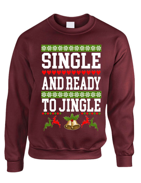 Adult Sweatshirt Single Ready To Jingle Friends Gift Xmas Ugly Party