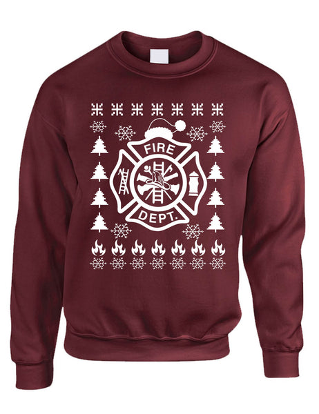 Adult Sweatshirt Fire Dept Ugly Christmas Firefighter Xmas Gift Idea