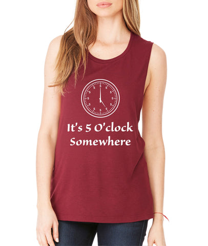 Women's Flowy Muscle Top It's 5 O'clock Somewhere Party Top - ALLNTRENDSHOP - 1