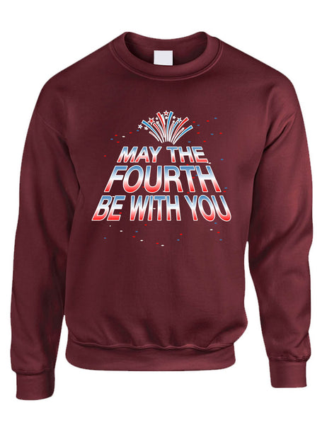 Adult Sweatshirt May The Fourth Be With You Cool 4th Of July Top