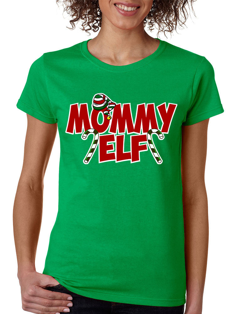 Women's T Shirt Mommy Elf Ugly Christmas Holiday Tee - ALLNTRENDSHOP