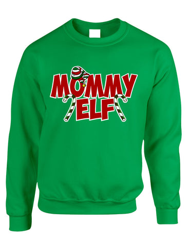 Adult Crewneck Mommy Elf Ugly Christmas Holiday Gift Top - ALLNTRENDSHOP