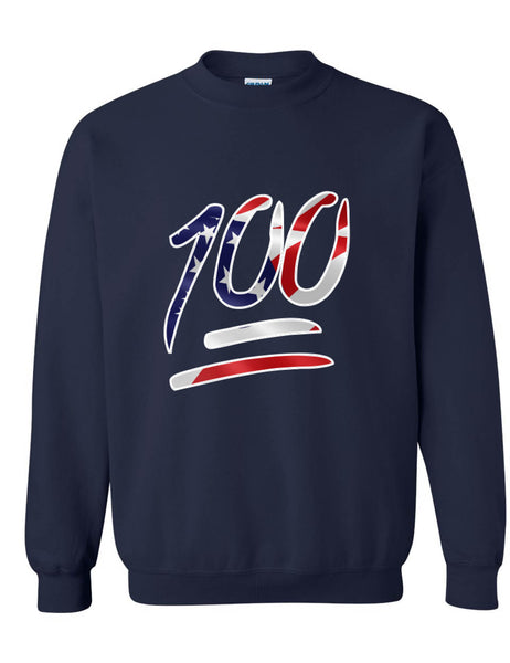 Adult Sweatshirt 100 Emoji USA Flag 4TH Of July Top Cool Summer Party