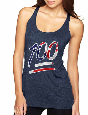 Women's Tank Top 100 Emoji USA Flag 4TH Of July Top Summer Party