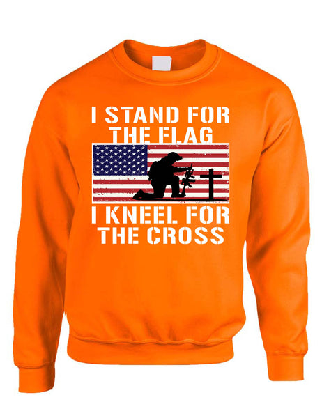 Men's Sweatshirt Stand For The Flag Kneel For The Cross Christian USA