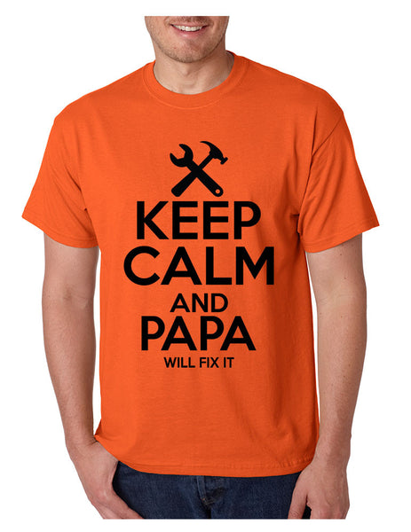 Men's T Shirt Keep Calm And Papa Will Fix It Grandpa Holiday Gift - ALLNTRENDSHOP - 4