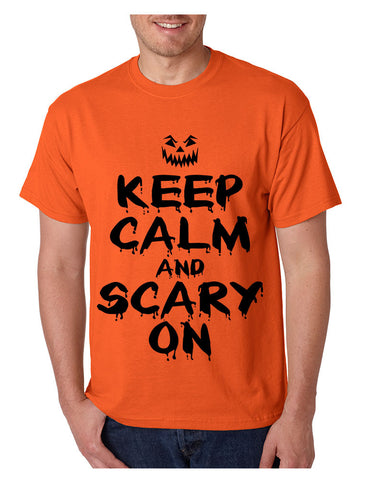 Men's T Shirt Keep Calm And Scary On Cool Halloween Costume Tee - ALLNTRENDSHOP