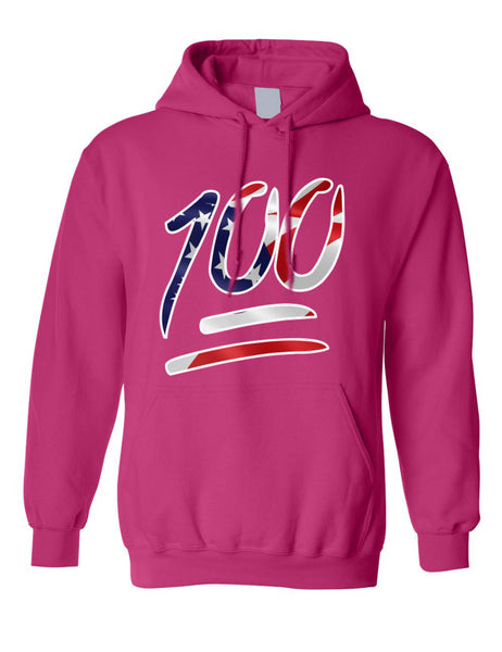 Adult Hoodie 100 Emoji USA Flag 4TH Of July Top Cool American Parade
