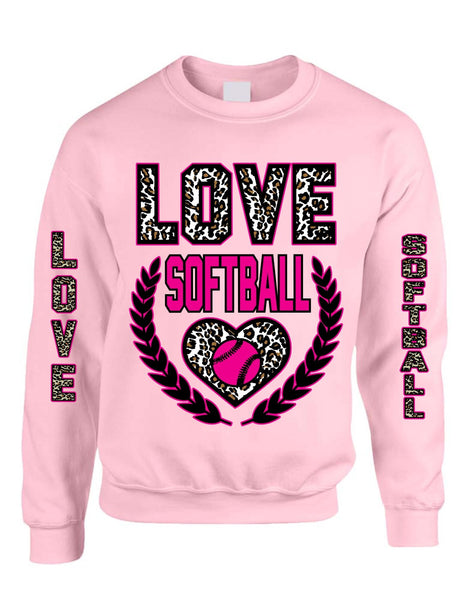 Love Softball Leopard womens Sweatshirts - ALLNTRENDSHOP - 1