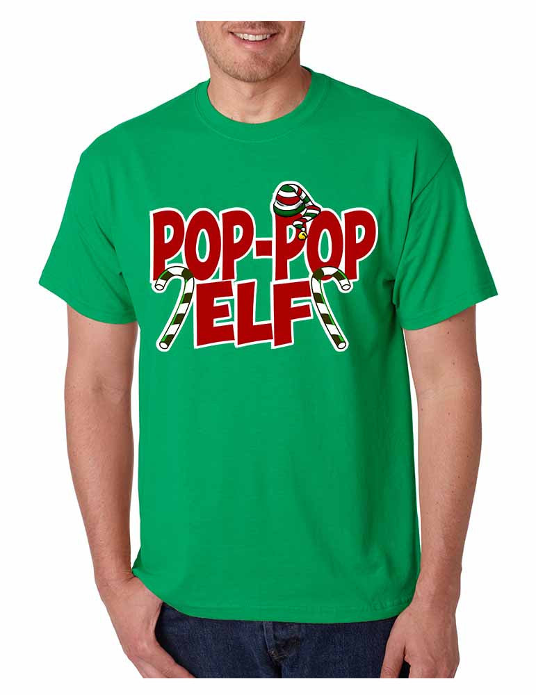 Men's T Shirt Pop Pop Elf Ugly Xmas Holiday Family Cute Gift - ALLNTRENDSHOP