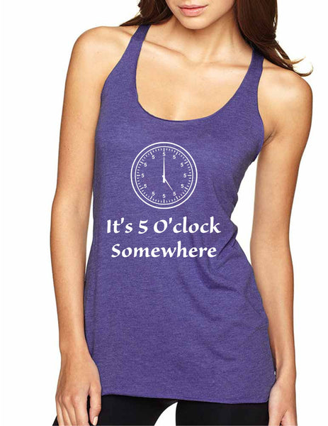Women's Tank Top It's 5 O'clock Somewhere Drinking Party Top - ALLNTRENDSHOP - 4