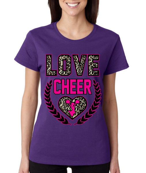 Love Cheer Leopard womens T-Shirts - ALLNTRENDSHOP - 4