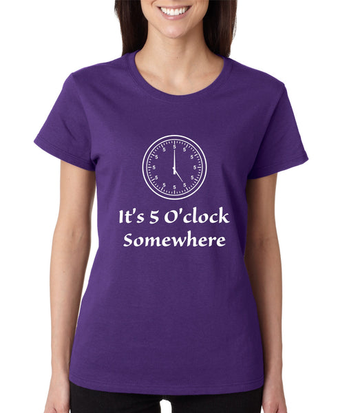 Women's T Shirt It's 5 O'clock Somewhere Drinking Beer Party Tee - ALLNTRENDSHOP - 4