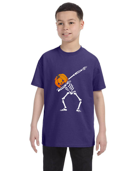 Kids Youth T Shirt Dabbing Pumpkin Cute Halloween Dab Skeleton Scary