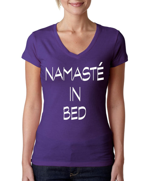 Namaste in bed Women's Sporty V Shirt - ALLNTRENDSHOP - 1