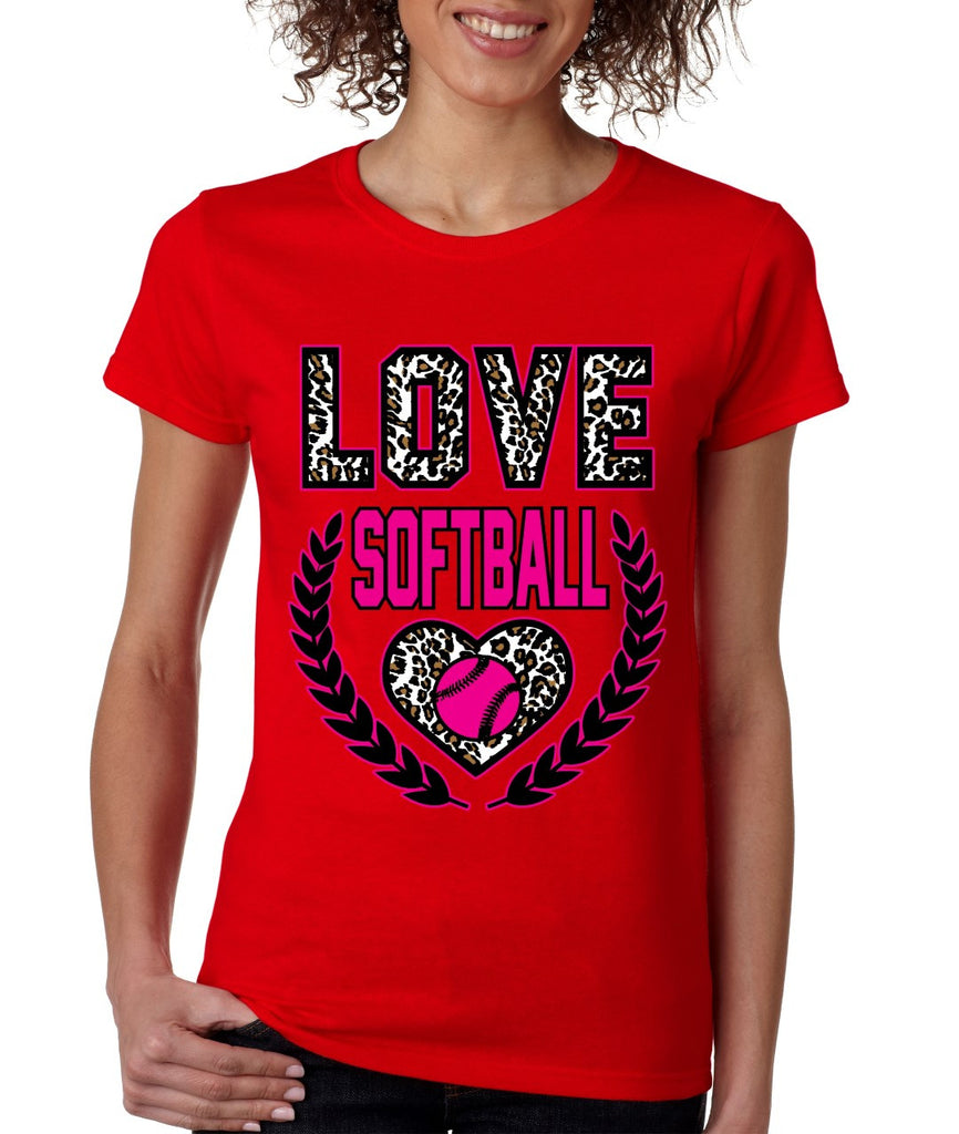 Love Softball Leopard women's T-Shirts - ALLNTRENDSHOP - 1