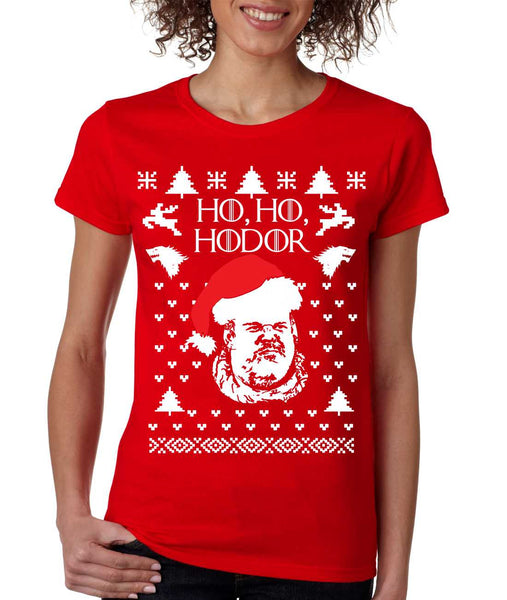 Women's T Shirt Ho Ho Hodor Ugly Christmas Sweater Holiday Top - ALLNTRENDSHOP - 2