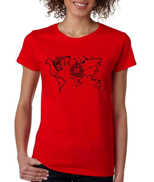 Women's T Shirt World Map Compass Cool Graphic Tee - ALLNTRENDSHOP - 5