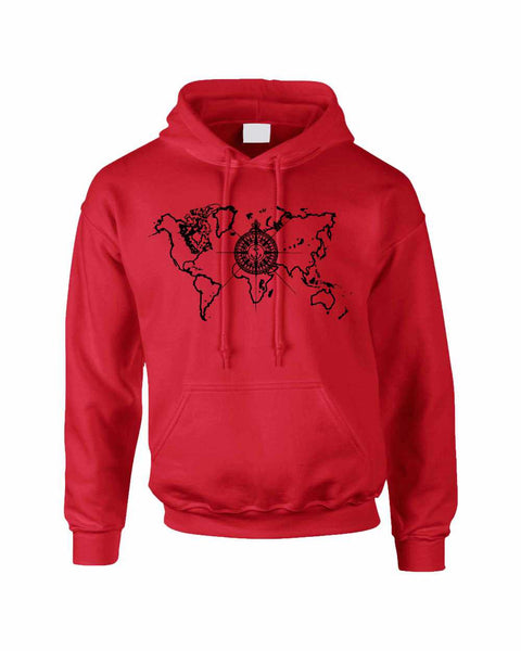 Adult Hoodie World Map Compass Cool Stuff Trendy Top - ALLNTRENDSHOP - 4