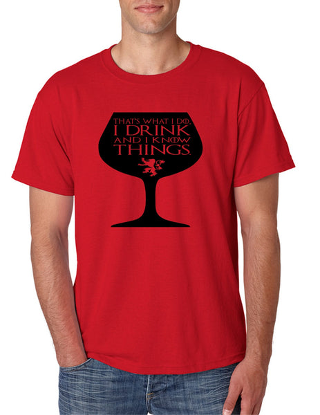 Men's T Shirt That's What I Do I Drink And Know Things Wing Glass Tyrion Lannister Top Game Of Thrones Inspired Tee - ALLNTRENDSHOP - 4