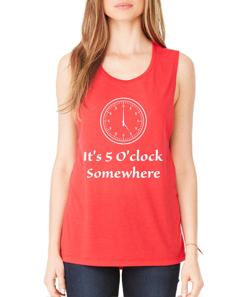 Women's Flowy Muscle Top It's 5 O'clock Somewhere Party Top - ALLNTRENDSHOP - 4