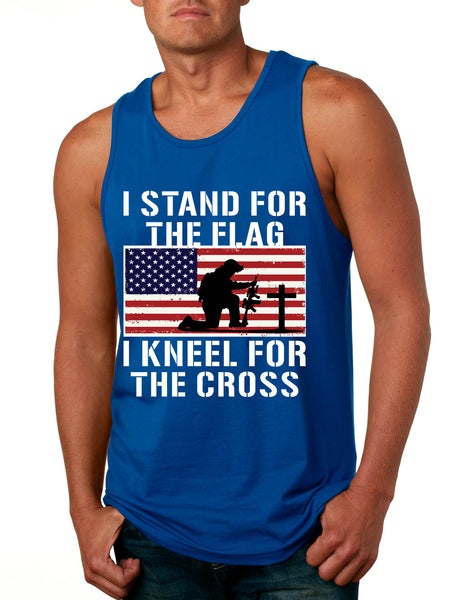 Men's Tank Top Stand For The Flag Kneel For The Cross Love America
