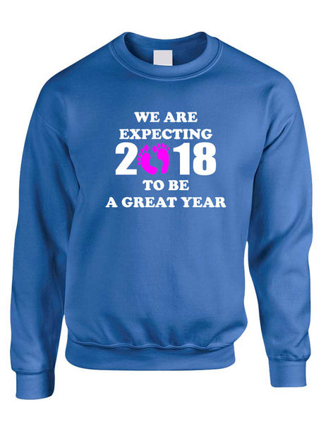 Adult Sweatshirt We Are Expecting Girl Maternity Reveal 2018 To Be