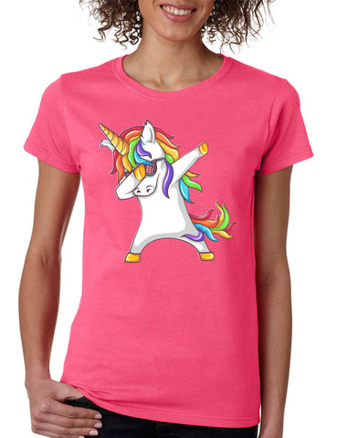 9e4e9ddf Women's T Shirt Dabbing Unicorn Cute Dab Dance Rainbow Girly Tee
