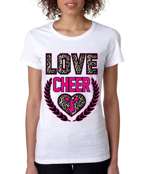 Love Cheer Leopard womens T-Shirts - ALLNTRENDSHOP - 2