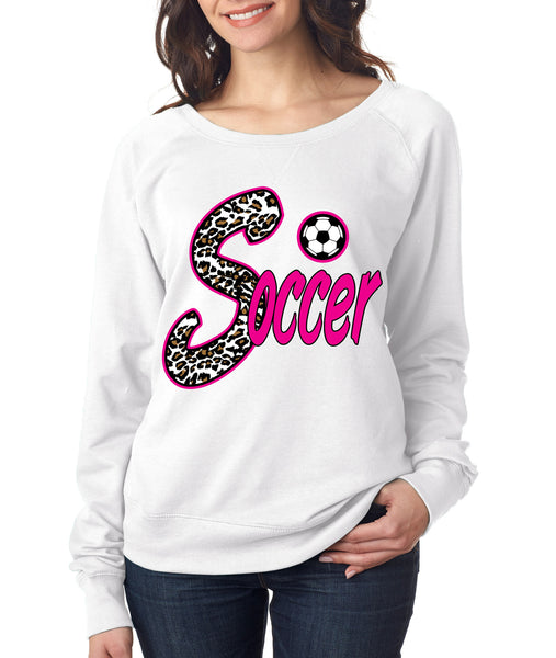 Soccer White Leopard women's long sleeve pullover - ALLNTRENDSHOP - 1
