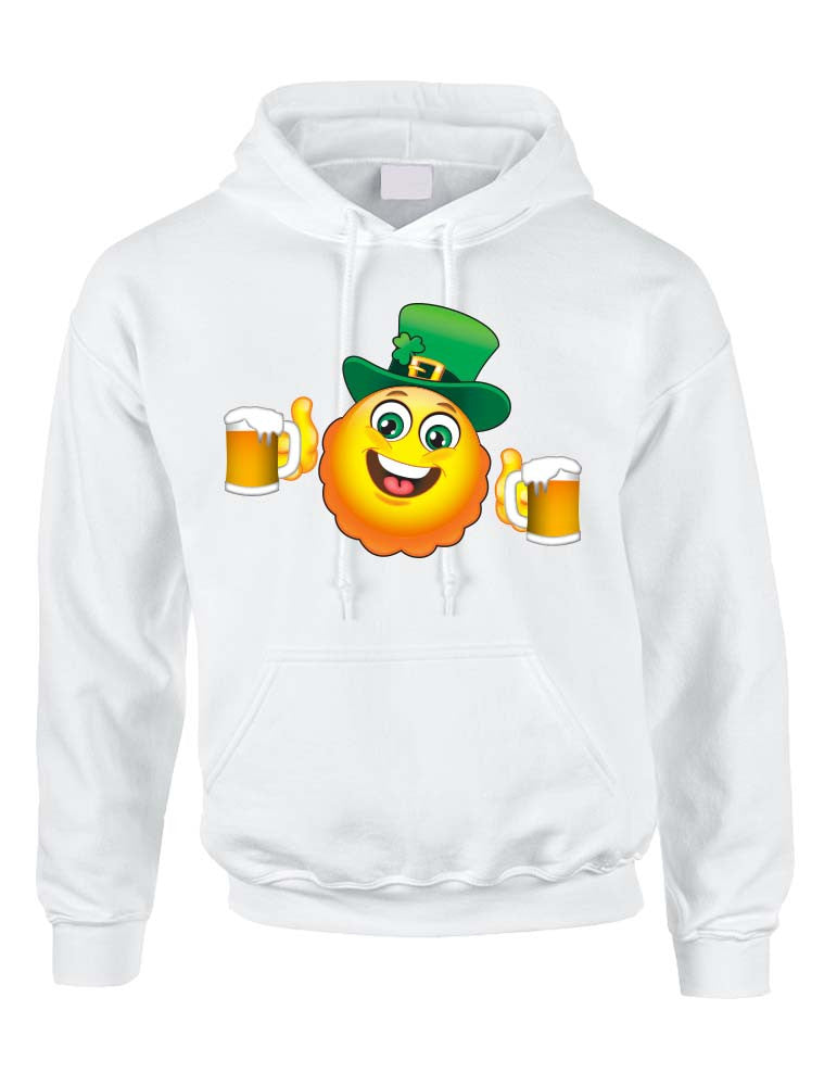 Irish smiling Emoji ST patricks women hooded sweatshirt - ALLNTRENDSHOP - 1