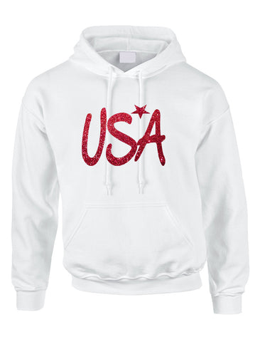 Adult Hoodie USA Red Glitter Love America 4th Of July Hoodie