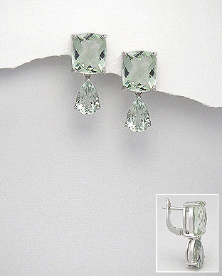 Green Amethyst Sterling Silver Earrings Side View