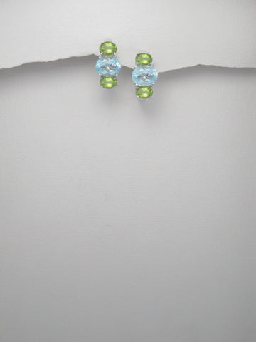 Blue Topaz and Peridot Sterling Silver Earrings