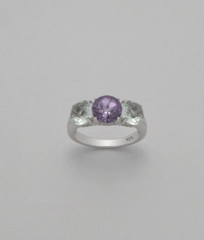 Purple and Green Amethyst Sterling Silver Ring