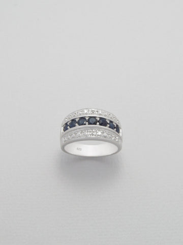 Blue Sapphire Band Ring in Sterling Silver