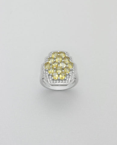 Citrine and White Topaz Sterling Silver Ring