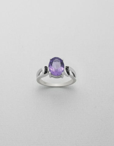 Amethyst and Black Spinel Sterling Silver Ring