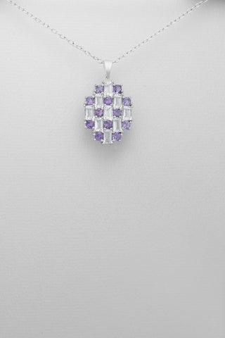 White Topaz and Amethyst Sterling Silver Necklace