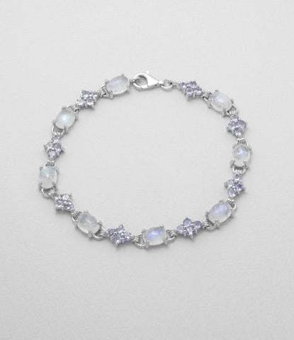 Moonstone and Tanzanite Sterling Bracelet