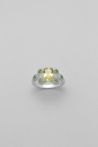 Citrine and Chrome Diopside Sterling Silver Ring