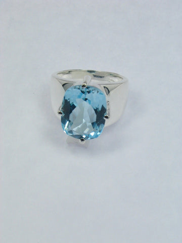 Bold Sky Blue Topaz Sterling Silver Ring